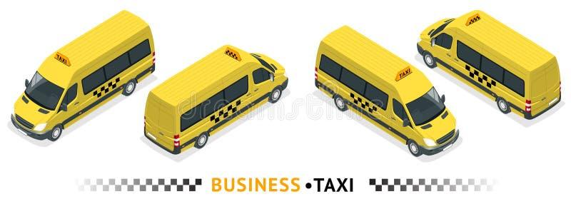 Isometric wysokiej jakości miasto usługa transportu ikony set Samochodowa taxi usługa Minibus Samochód lub Van Lotniskowy przenie royalty ilustracja