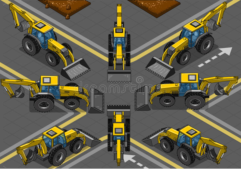Isometric Yellow Backhoe in Eight Positions. Detailed illustration of a Isometric and Orthogonal Yellow Backhoe in Eight Positions This illustration is saved in stock illustration