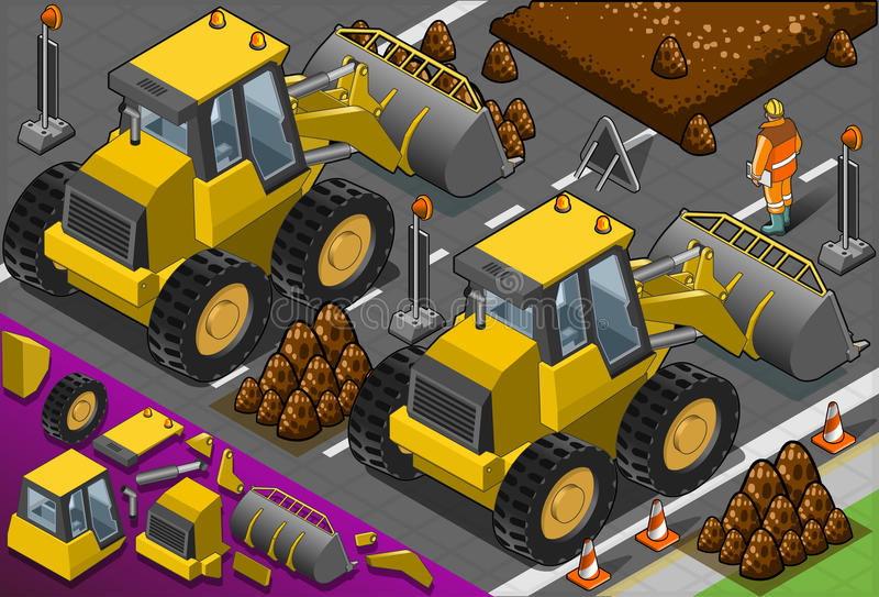 Download Isometric Yellow Bulldozer In Rear View Stock Image - Image: 30775723