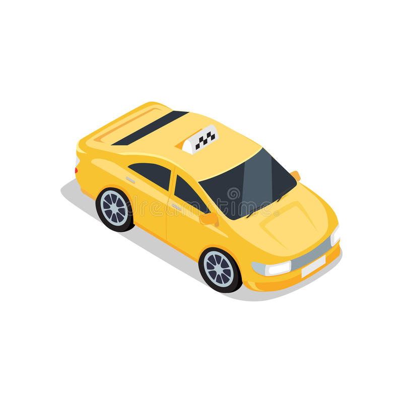 Isometric Yellow Taxi Cab. Flat 3d isometric yellow car taxi with shadow. City service transport icon. Car taxi icon. Isometric part of the city infrastructure stock illustration