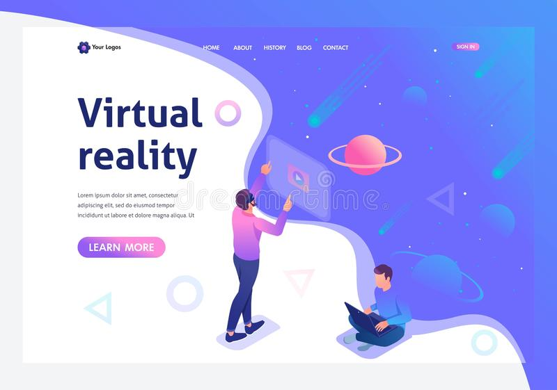 Isometric a young man runs a virtual reality using virtual glasses, a teenager runs on a laptop. Template landing page vector illustration