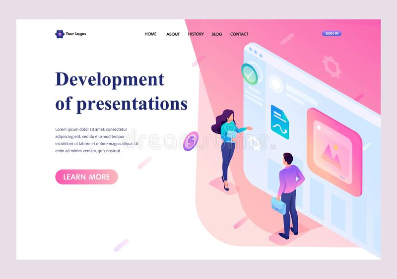 Isometric young people stand at the screen, creating presentations and web design. Template landing page vector illustration