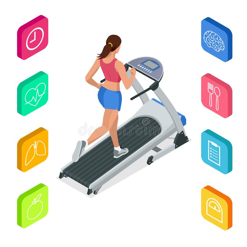 Isometric young woman in sportswear running on treadmill at gym. Fitness and Health icons. Running machine or track. Isolated on white background royalty free illustration