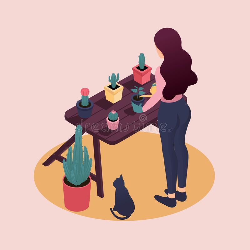 Isometric Young Women Work and Study at Home vector illustration
