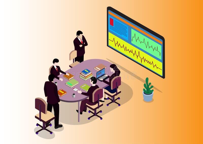 Isometric Zaczyna w górę pracy zespołowej Brainstorming biura pokoju konferencyjnego royalty ilustracja