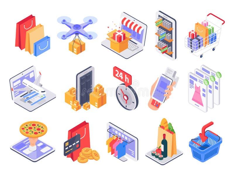 Isometric zakupy Online sklep, targowe sprzedaże, doręczeniowe i sklep Interneta nabywać i sklepów spożywczych produktów 3d wekto royalty ilustracja