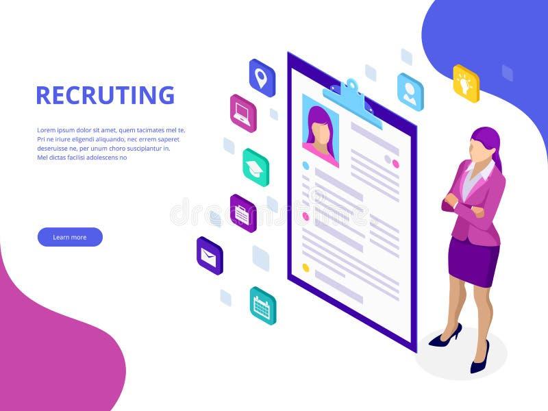 Isometric, zatrudniać i rekrutacyjny pojęciu dla strony internetowej, sztandar, prezentacja Akcydensowy wywiad, rekrutacyjny agen ilustracja wektor