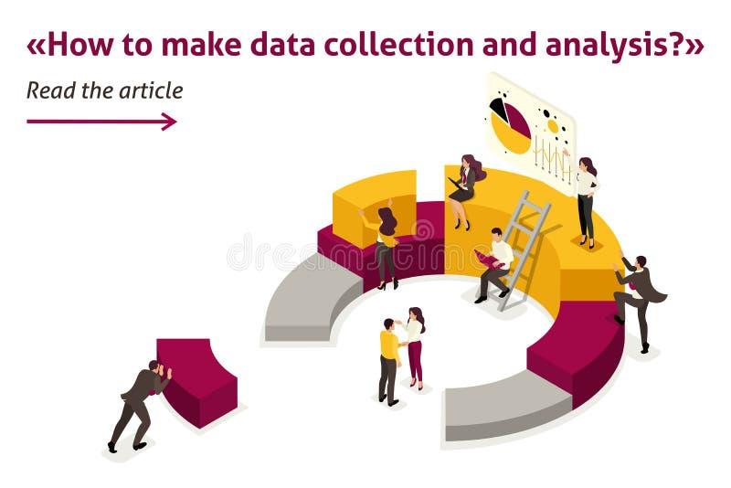 Isometric Zbieraccy i Analizują dane ilustracji