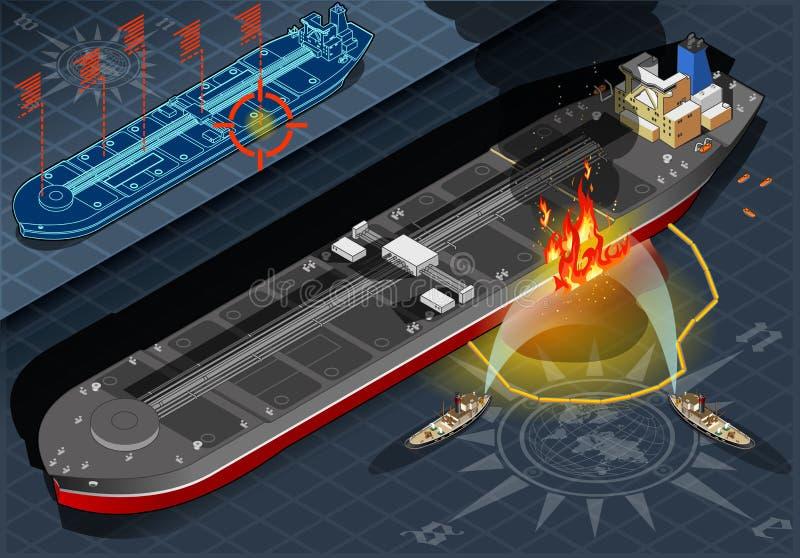 Isometric zbiornikowiec do ropy ogienia katastrofa w Frontowym widoku royalty ilustracja