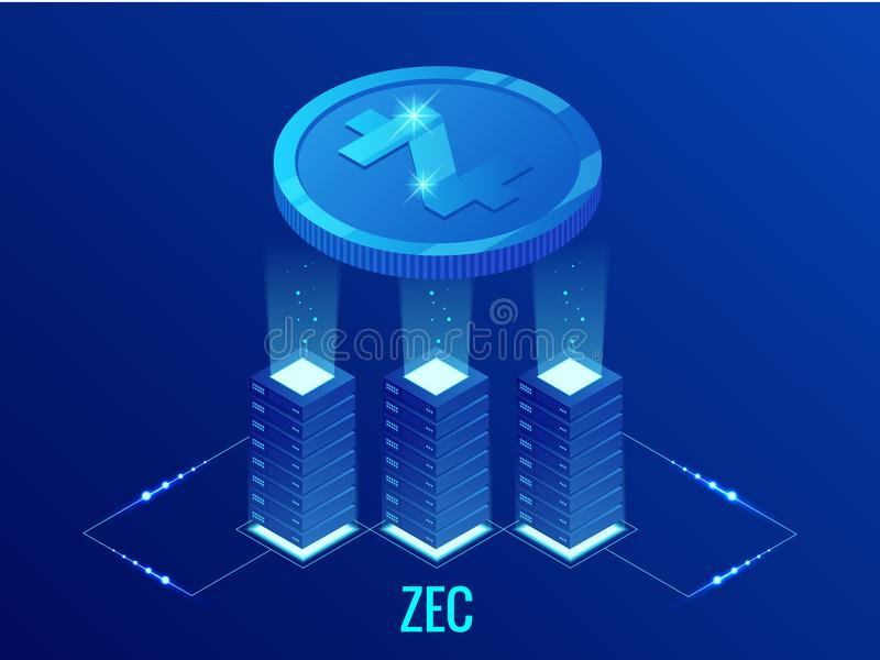Isometric ZCASH Cryptocurrency mining farm. Blockchain technology, cryptocurrency and a digital payment network for vector illustration