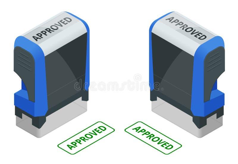 Isometric znaczek zatwierdzający set Zatwierdzony zielony atramentu znaczek odizolowywający na białym tle ilustracji