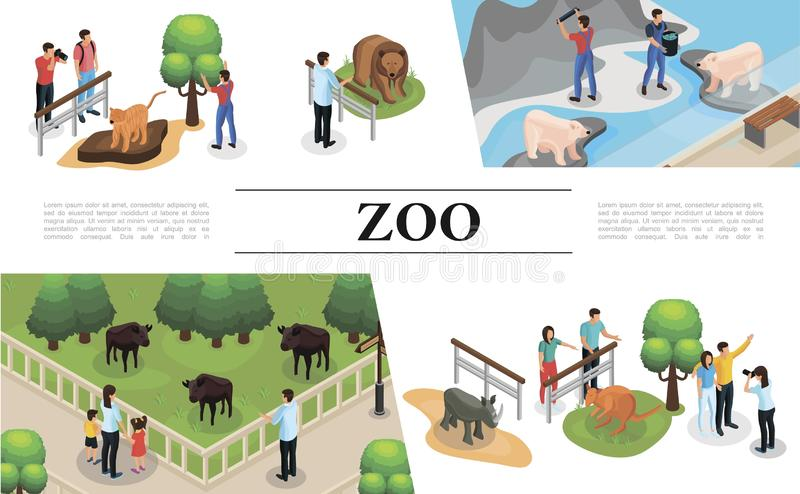 Isometric zoo pojęcie ilustracja wektor