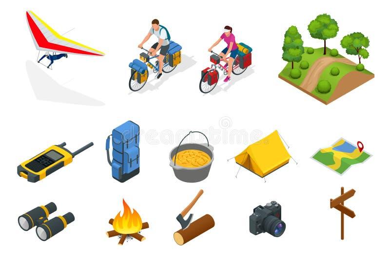 Isometric zrozumienie szybowiec, rowerzyści na bicyklu z podróżną torbą dla podróży, Campingowy wyposażenie na białym wektorze ilustracji