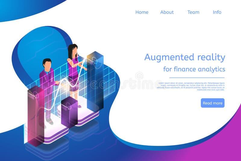 Isometric Zwiększająca rzeczywistość dla Finansowych analityka ilustracji