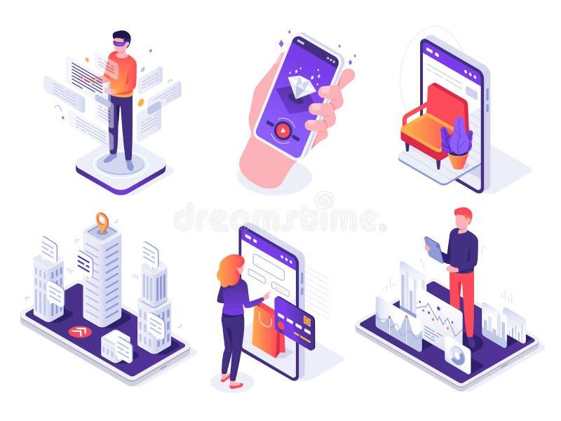 Isometric zwiększający rzeczywistości smartphone Mobilna AR platforma, wirtualna gra i smartphones 3d nawigacji wektoru pojęcie, ilustracja wektor
