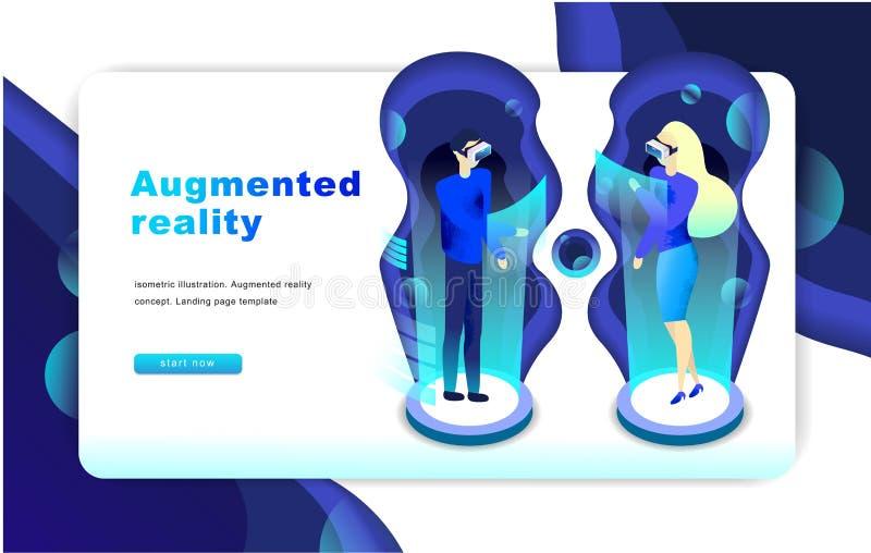 Isometric zwiększający rzeczywistości wirtualnej pojęcie dostępna oba eps8 formatów jpeg szablonu strona internetowa ilustracja wektor