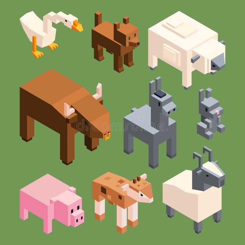 Isometric zwierzęta gospodarstwo rolne Wektorowi stylizowani 3d zwierzęta odizolowywają royalty ilustracja