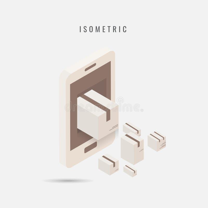 isometrico consegna mobile dell'icona, simbolo di vettore nello stile isolato royalty illustrazione gratis