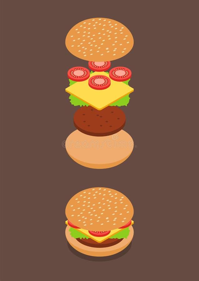 Isometrico degli ingredienti dell'hamburger illustrazione di stock