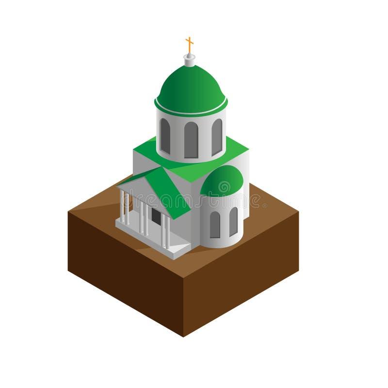 Isometrico della chiesa di Christian Orthodox isolato su bianco illustrazione vettoriale