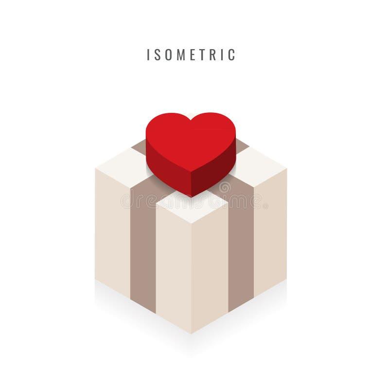 isometrico icona Biglietto di S. Valentino, cuore rosso in scatola, simbolo di vettore nella s illustrazione vettoriale