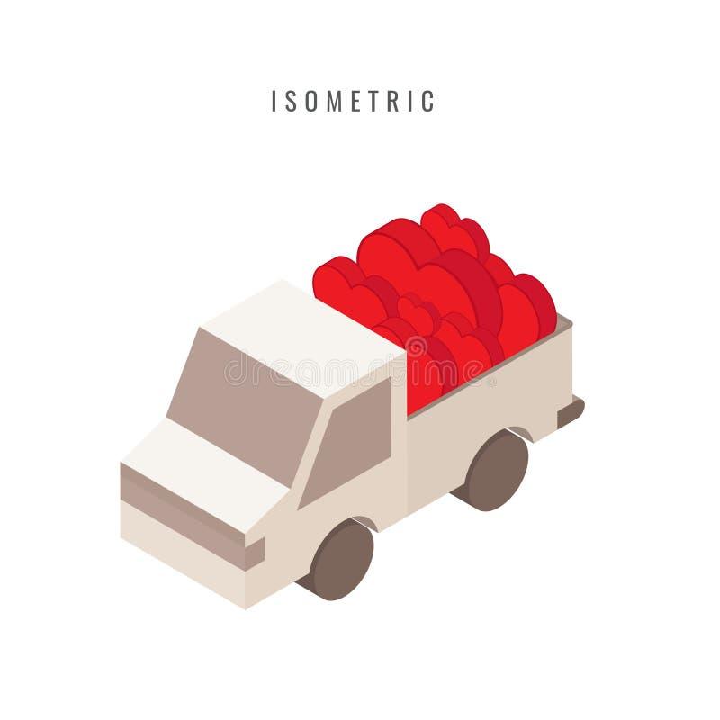 isometrico icona valentine Cuore Automobile di amore, simbolo di vettore in st illustrazione vettoriale