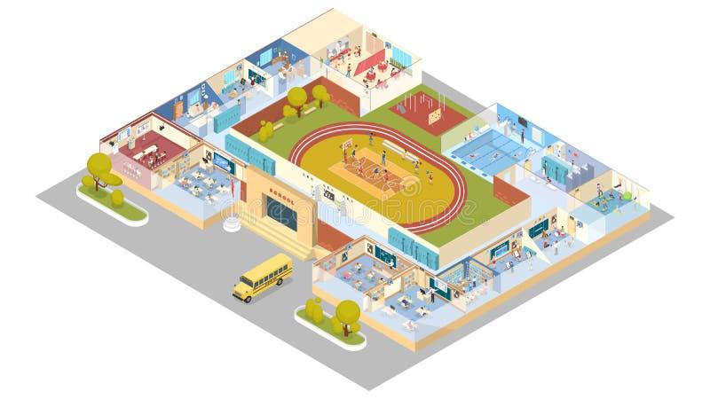 Isometrico interno della scuola royalty illustrazione gratis