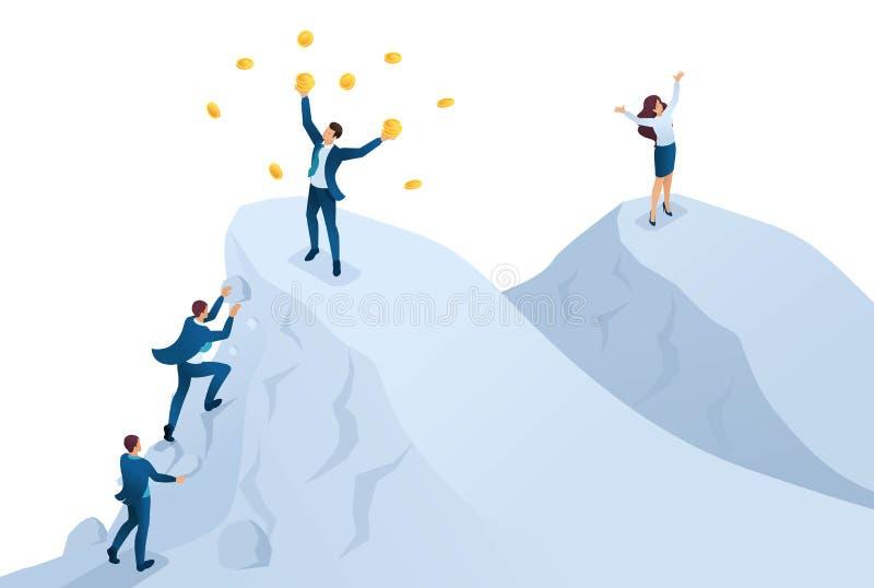 Isometrico per raggiungere successo, per raggiungere lo scopo, per essere sopra la montagna Concetto per web design royalty illustrazione gratis