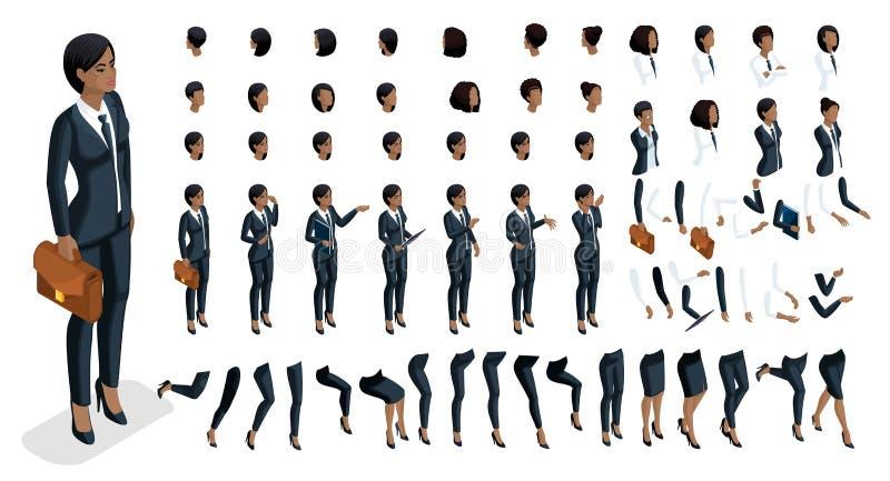 Isometrics人情感面孔,创造您的字符 3d一名非裔美国人的妇女的事务有一套的情感 库存例证