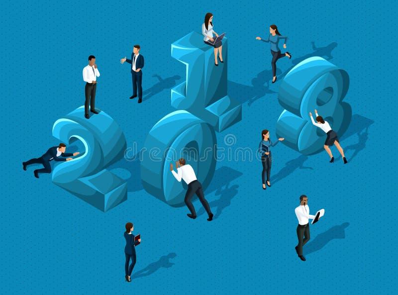 Isometrics企业日历2018年,商人推挤和投入数字,商人企业例证夫人,质量 向量例证