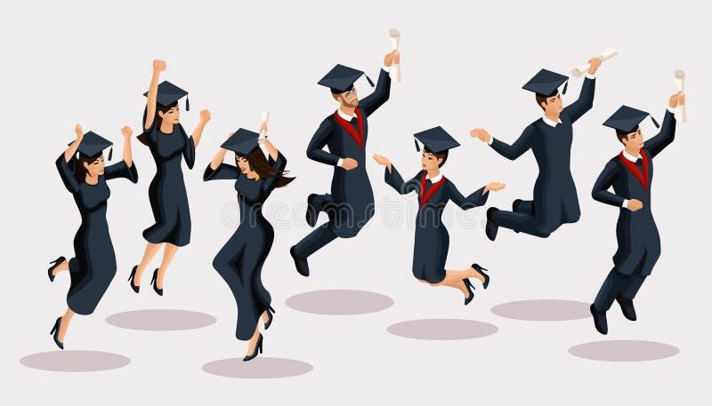 Isometrics毕业生女孩和男孩,跃迁,学院制服,帽子,高兴,文凭,毕业生 套滑稽的字符 库存例证