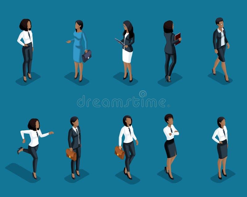Isometrics设置了非裔美国人的办公室工作者的妇女,企业衣裳的,管理,训练 库存例证