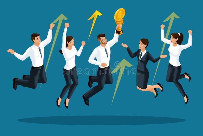 Isometrics av affärsmän är lycklig, och hoppa, växer Cryptocurrency, en seger på börsen stock illustrationer