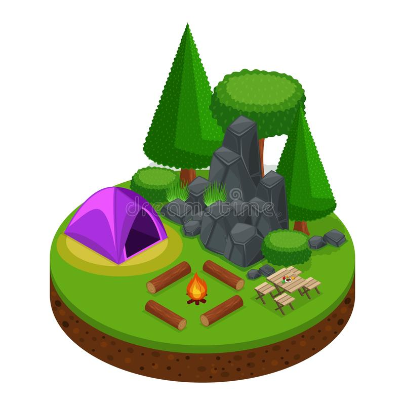 Isometrics che si accampa, ricreazione all'aperto, natura, lago, foresta, tenda, falò, montagne, alberi royalty illustrazione gratis