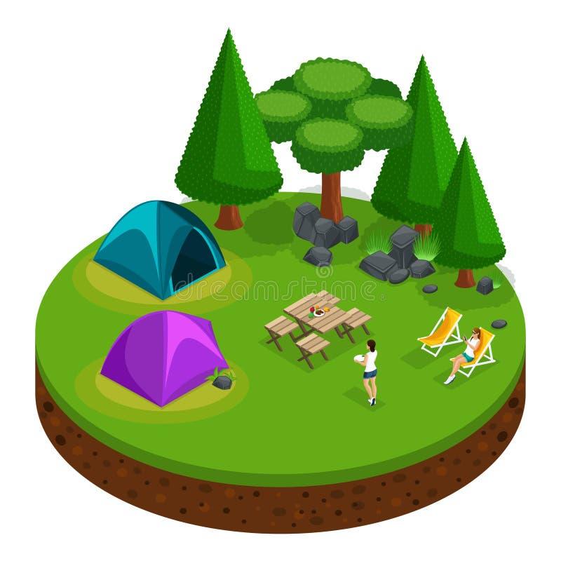 Isometrics che si accampa, ricreazione all'aperto, ragazze che si rilassano, natura, lago, foresta, tenda, falò, montagne, alberi illustrazione vettoriale