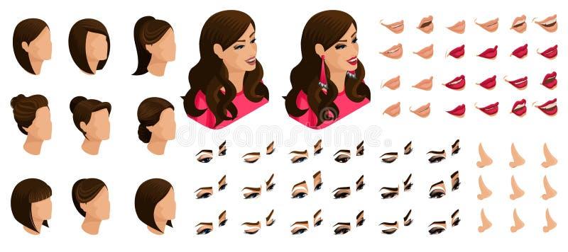 Isometrics créent vos émotions d'une belle femme Ensembles de coiffures 3D, visages, yeux, lèvres, nez, expression du visage illustration stock