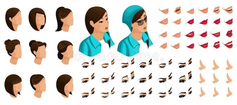 Isometrics crea sus emociones para un adolescente con vidrios y un sombrero Sistemas 3D de los peinados, caras, ojos, labios, nar ilustración del vector