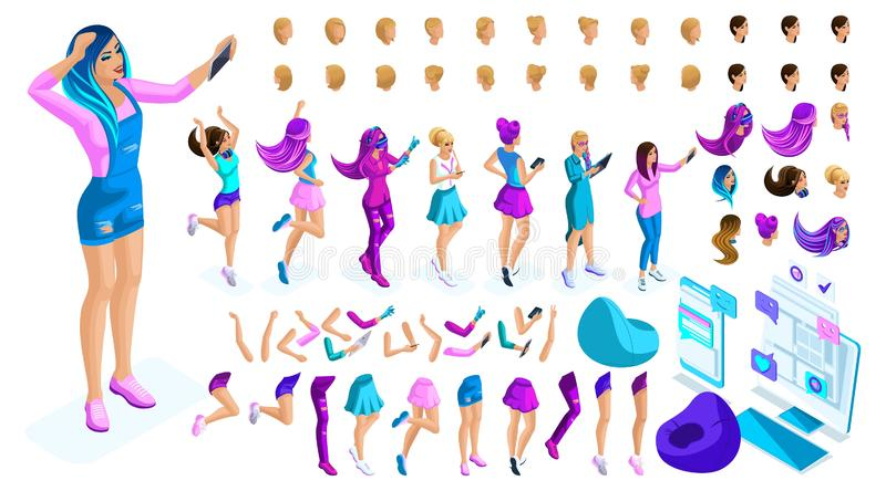 Isometrics Create your style girl, teenager. Set creative hairstyles, gestures of hands and feet, different emotions royalty free illustration