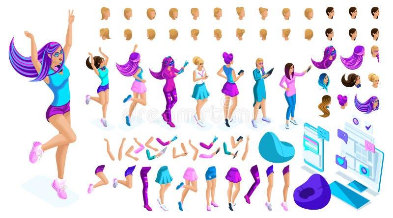 Isometrics cria sua menina do estilo, adolescente Penteados criativos ajustados, gestos das mãos e pés, emoções diferentes ilustração royalty free