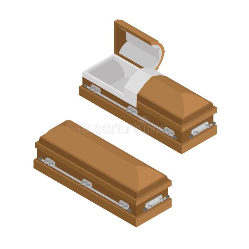Isometrics de cercueil Cercueil en bois pour l'enterrement illustration de vecteur