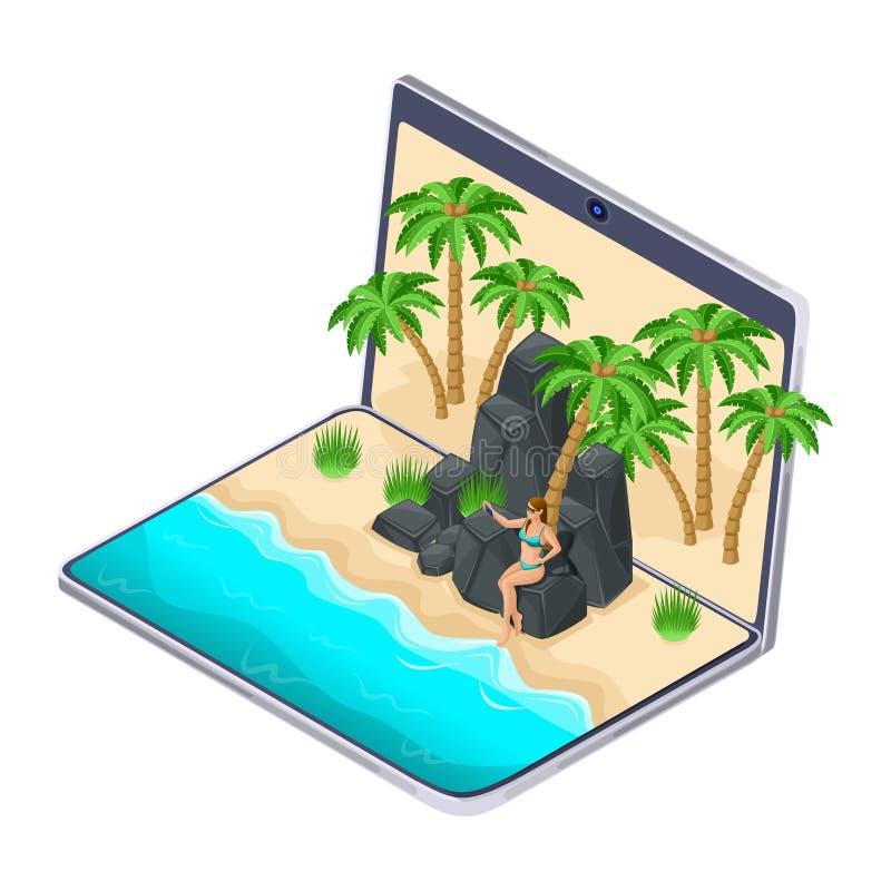 Isometrics de keus van rust op laptop, het meisje op de rotsachtige bergen maakt selfie, gadgets op vakantie, reis, strand, overz vector illustratie