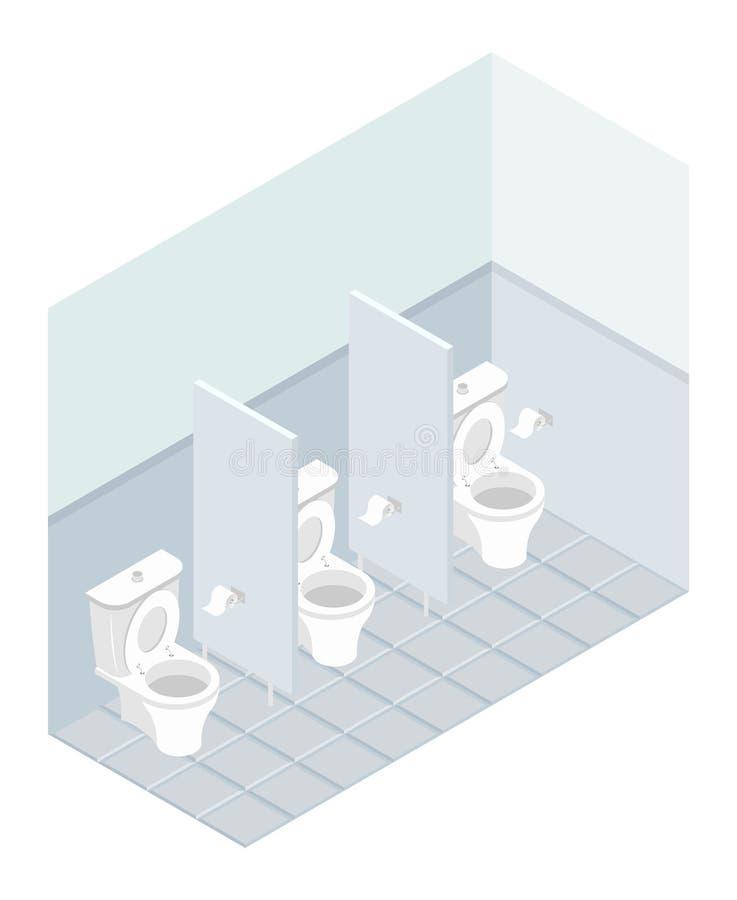 Isometrics der öffentlichen Toilette Innengesamttoilette Toiletten und lizenzfreie abbildung