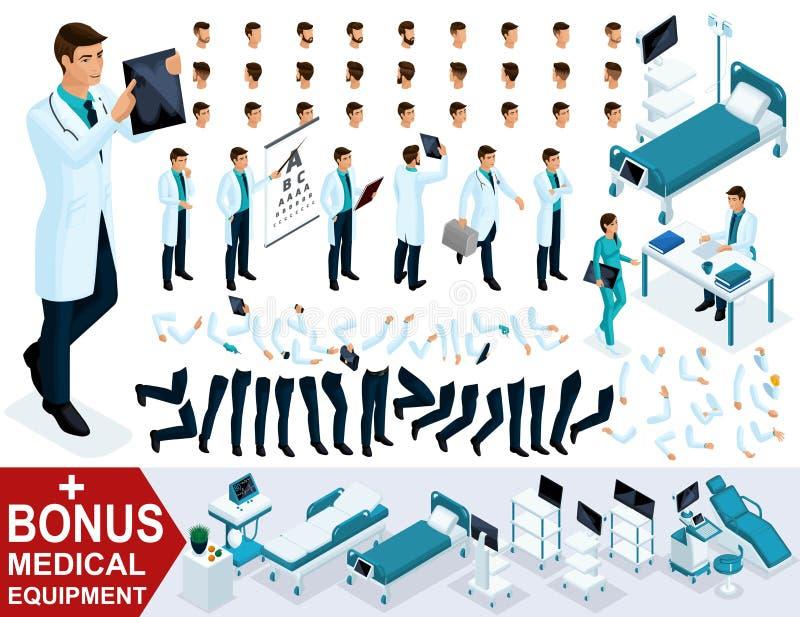 Isometrics för att skapa din doktor för tecken 3D, kirurguppsättningar av gester av foten och handsinnesrörelser Medicinsk utrust royaltyfri illustrationer