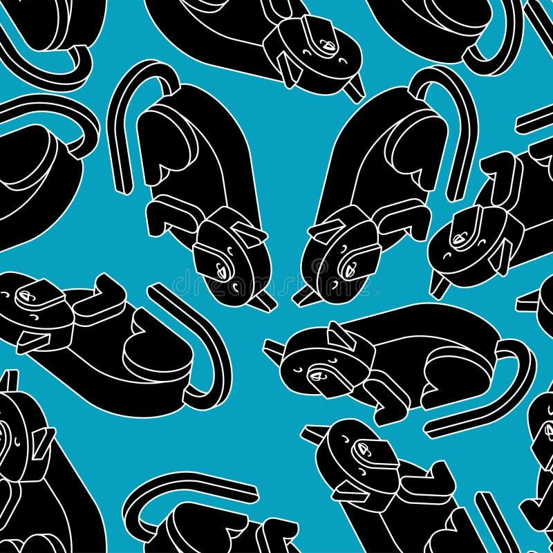 Isometrics för svart katt modell Hem- bakgrund för husdjur 3d Vektor dåligt vektor illustrationer