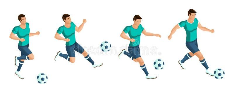 Isometrics gracz piłki nożnej Bawić się futbol gracz bije piłkę, bieg, atak, bramkarz Pojęcie ilustracja wektor