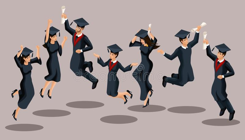 Isometrics graduates girls and boys, jump, academic robes, hats, rejoice, diplomas. Set of funny characters.  royalty free illustration