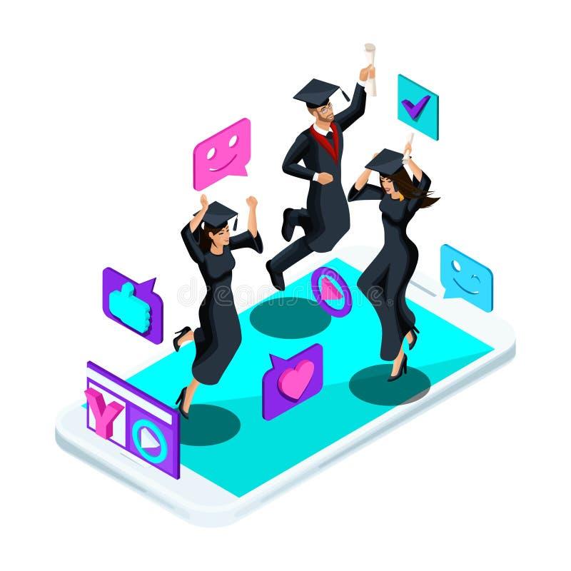 Isometrics graduates girls and boys, jumping rejoice, academic attire, diploma, mantle, shoots video blog, smileys, likes. Smartphone, video broadcast stock illustration