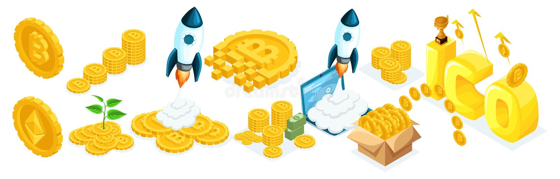 Isometrics ikon inwestorzy, geszefciarzi z ico blockchain pojęciem, bezpieczny bitcoin, cryptocurrency kopalnictwo ilustracja wektor