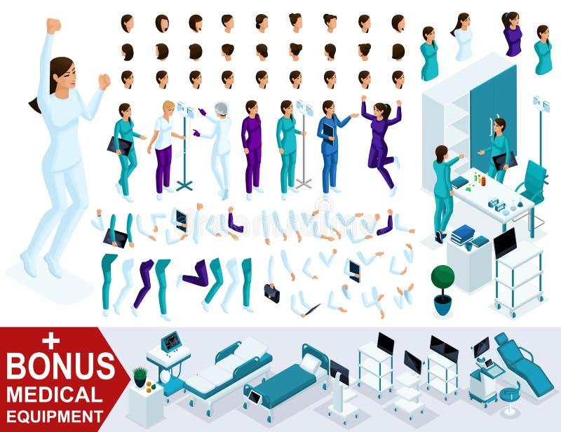 Isometrics leidt tot uw verpleegsterskarakter, Reeks handen, voeten, gebaren, emoties en karakters Bonusmedische apparatuur vector illustratie
