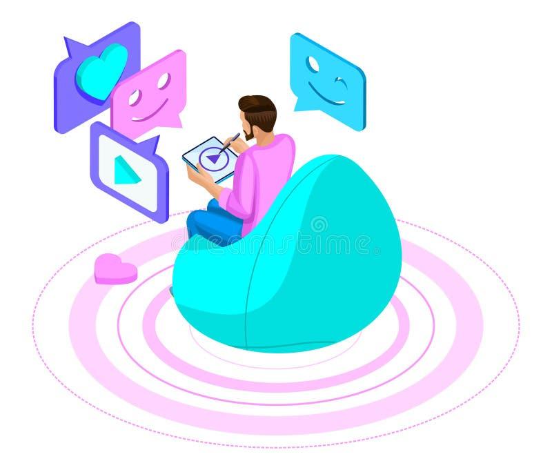 Isometrics que um homem se comunica em um bate-papo, em uma rede social moderna, mantém a correspondência, olha o vídeo através d ilustração do vetor